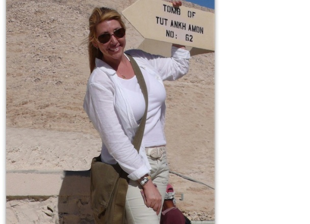 Stefanie Michaels a.k.a Adventure Girl has traveled light to over 60 countries. Here she is at King Tut's tomb in Egypt.