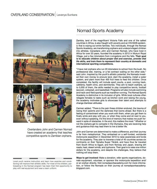 Nomad Sports Academy Zambia Orphans Article