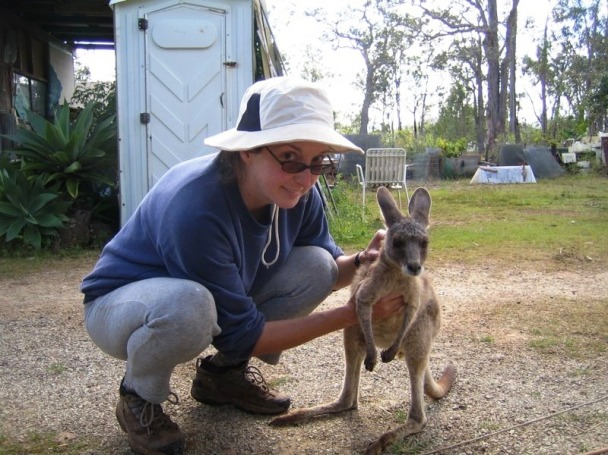 Jane Stanfield with kangaroo in Eagles Nest wildlife hospital in Queensland, Australia