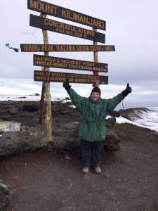 Tovah Feldshuh on the summit of Mt. Kilimanjaro