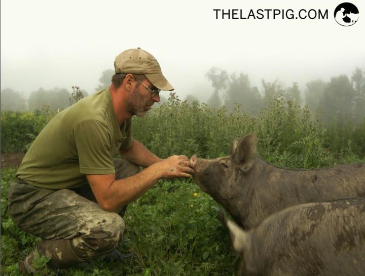 Bob Comis during filming of The Last Pig